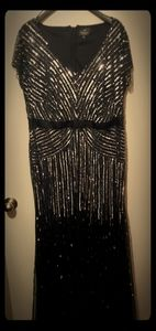 Black and silver sequenced dress